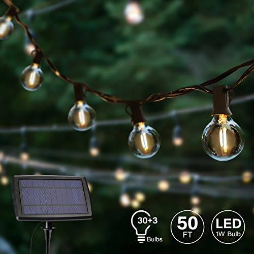YUNLIGHTS G40 Solar String Lights Outdoor - 50FT Globe String Lights with 30+3 LED Bulbs - IP45 Waterproof LED Patio String Lights for Backyard Bistro Porch Garden Cafe Party