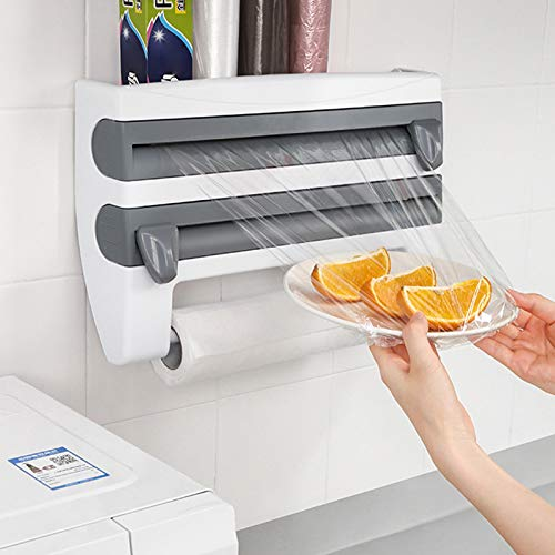 Multifunctional Storage Cutting Rack,4-in-1 Wall-Mount Sauce Bottle Storage Holder, Multi-Function Kitchen Cling Film Foil Dispenser with Spice Rack, Household Kitchen Tool Rack