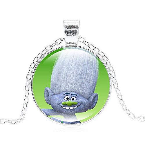 Ketting - afbeelding - trollen - karakters - kerel diamant - tekenfilms - hanger - foto - multicolor - zilveren kleur - kinderen - cadeau-idee - verjaardag - kerstmis