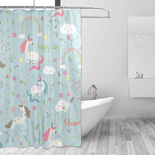 FANTAZIO Duschvorhang weißes Einhorn-Set Polyester Badvorhang mit dicken C-förmigen Haken für Badezimmer wasserdicht langlebig und super wasserdicht 152,4 x 182,9 cm