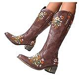 Botas de vaquero vintage para mujer, con bordado floral, de poliuretano, con tacón cuadrado, antideslizantes, clásicas, para invierno, botas altas, botas de estilo occidental, botines de tobillo