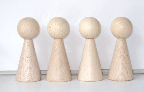 G&S 4 Figurenkegel , Spielfigur , Halmakegel Gigant aus Holz , 100 mm - Natur