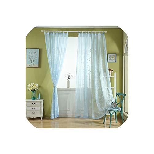 Embroidered Voiles Semi Country Style Sheer Curtains for Bedroom Living Room Kitchen Door Window Curtain Drape Panels,Blue,W300xL250cm,Hooks