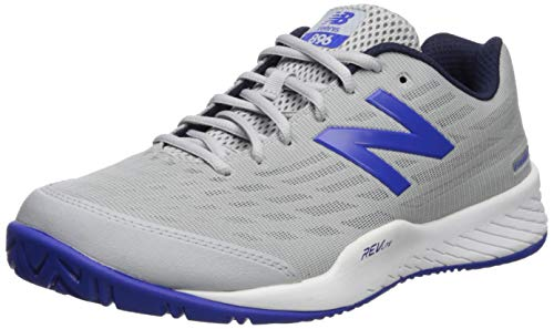 New Balance Men's 896v2 Hard Court Tennis Shoe, LIGHT ALUMINUM/UV BLUE, 8 2E US