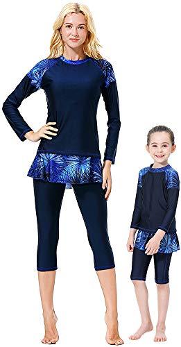 YEESAM Muslimischer Badeanzug Mutter und Tochter, Muslimische Bademode Burkini für Frauen Damen Mädchen (Navy Blau, Damen Asien L (Höhe: 160-170 cm))