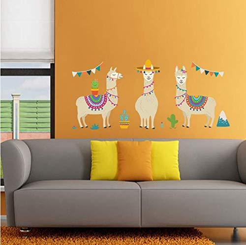 Cartoon Lama Tiere Indischen Stil Alpakas Wandaufkleber Für Kinderzimmer Kinderzimmer Wanddekor Kunst Dekoration Zubehör 105 Cm * 50 Cm