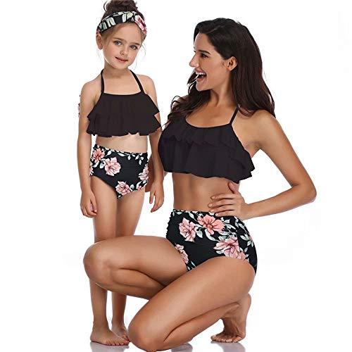 Flywill Split Badeanzug Retro Hohe Taille Bikini Mutter und Tochter Eltern-Kind Swimsuit Rüschen Strand Bademode Blume Blätter Drucken Muster Badeanzüge Tankini Swimwear Beachwear
