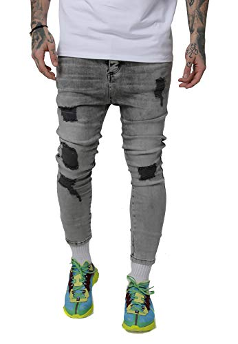Sik Silk SS-15287 Skinny Drop Crotch Ultra Denim Jean - Snow Wash X-Small Grey