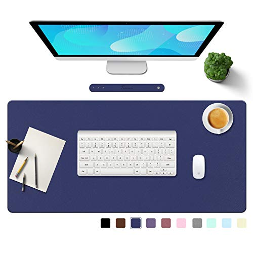 Towwi PU Leather Desk Pad with Suede Base, Multi-Color Non-Slip Mouse Pad, 36 x 17 Waterproof Desk Writing Mat, Large Desk Blotter Protector (Dark Blue)