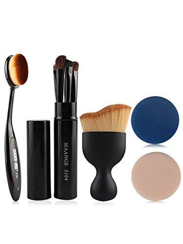 Ruiting 5 Pcs Pinceaux à yeux de maquillage + Pinceaux de fondation +Pinceaux au fard à joue + Houppes à poudre Outils de Maquillage NOIR