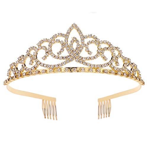 Royal Crystal Tiara Crowns Hair Jewelry Wedding Pageant Bridal Princess Headband Gift, Gold