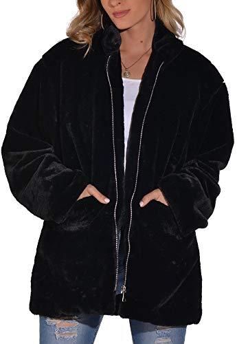 Hsyooes Mujer Abrigo de Piel sintética Elegante Abrigos Chaquetas de Pelo Sintético de Manga Larga Cárdigan Outwear Invierno