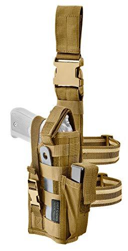 DEFCON 5 GS08 - Pistolera de muslo militar táctica para Leg Holster universal Molle Coyote Tan