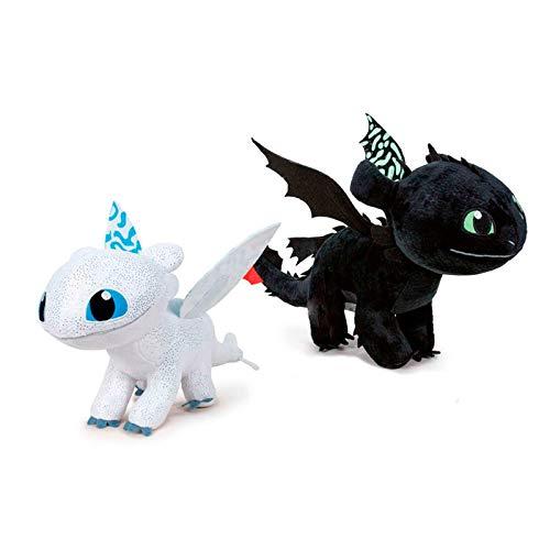 Play by Play - Peluche Dragon Trainer 3, 40 cm, si illuminano al buio, confezione da 2