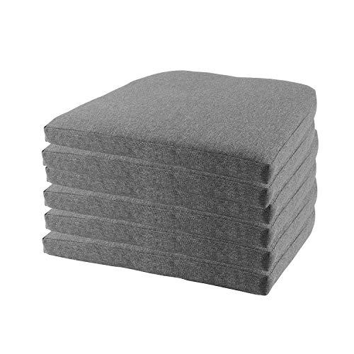 Wohaga Komfort Sitzkissen Set 48x48x5cm, UV- & Wasserbeständig, Outdoorkissen, Sitzauflagen-Farbe:Grau, Sets:6er Set