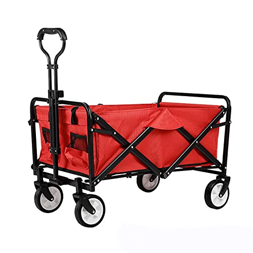 GAXQFEI Outdoor Utility Wagon Garden Trolley Carts Folding Garden Beach Shopping Camping Cart Foldable Wagon Trolley,Red,One Szie