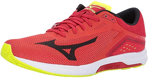 Mizuno Running Men's Wave Sonic Running Shoes, Grenadine/Black/Safety Yellow, 11.5 D US
