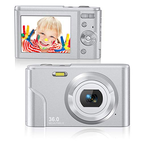Rosdeca Digital Camera HD 1080P Vlogging Camera, 36 Mega Pixels Compact Camera with 16x Digital Zoom for Kids Teens-Travel, Rechargeable Mini Point and Shoot Camera with 2 Batteries