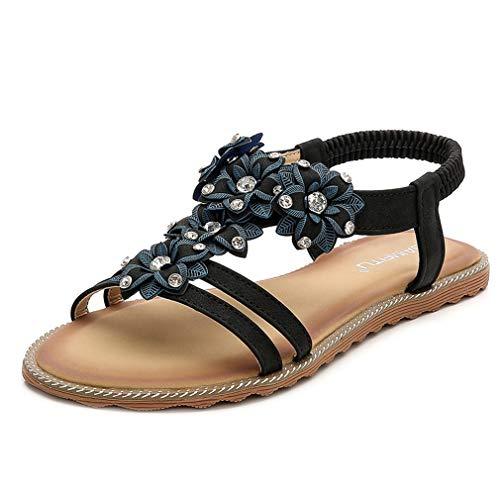 Zapatos de verano New Bohemia para mujer, talla grande, abiertos, para la playa, con banda elástica, planos, sandalias para el tiempo libre, color negro, 42