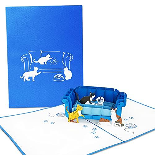 LuckeeCards® 3D-Katzen Grußkarte - Pop-up Karte - Einladungskarte - Geschenkkarte mit Motiv - Katzen auf dem Sofa - für Katzenfreunde - Gutscheinkarte