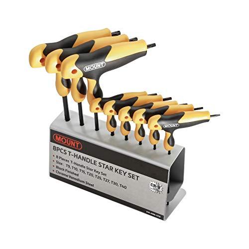 Juego de llaves Torx con 8 piezas mango ergonómico en T marca Mount, acero Cr-V, Kit portátil de herramientas con soporte de metal ideal para el hogar y reparación de vehículos, T9-T40