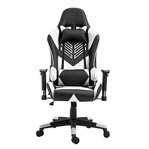 SENZHILINLIGHT Silla de oficina moderna para juegos de carreras, escritorio para computadora, silla de 360 grados, asiento ajustable, escritorio de oficina, silla de cuero para PC