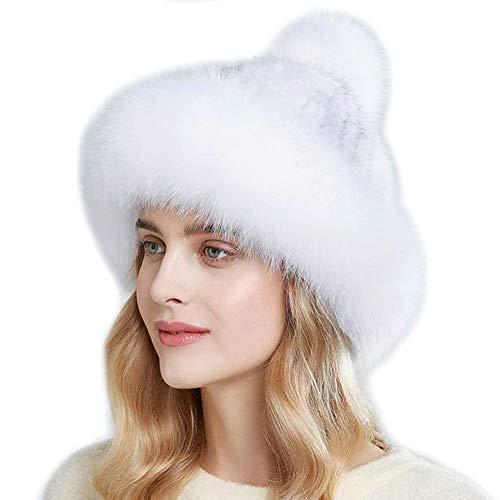 Brillabenny Gorro de mujer de auténtica piel de zorro y visón Fur Hairband Mink Fox de lujo Invierno Nieve Modelo Rusia Color blanco. Talla única