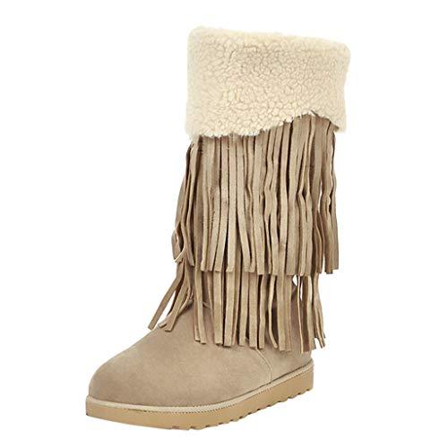 MOTOCO Damen Mid Boots Casual Flache Böhmische Fransen Quaste Plus Baumwolle Fringe Warme Schneeschuhe Booties(37 EU,Beige)