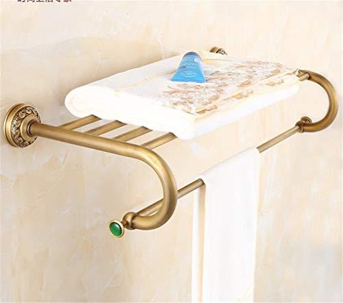 CBXSF Europäische Badezimmer Handtuchhalter Hängend Hardware Antike Messing Dekorative Jade Modelle Anzug Green Stone Gebürstet Messing Wand Befestigtes, Handtuchwärmer