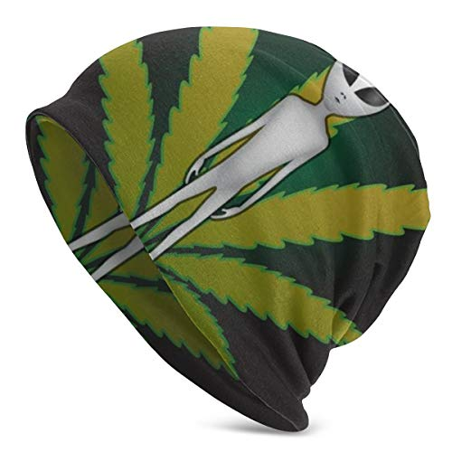 LESIF Et And Cannabis Leaf Beanie Hat Soft Stretch Slouchy Skully Knit Cap Hip Hop Sleep Cap para hombres y mujeres