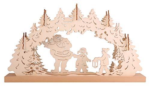 Arc lumineux 3D « Bonhomme de neige avec enfants », pr guirlande 10 amp, peuplier et socle hêtre, 48x6x26cm