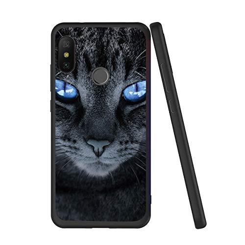 Pnakqil Funda Xiaomi Mi A2 Lite Silicona Ultrafina Negra con Dibujos Diseño Suave TPU Gel Antigolpes de Protector Piel Slim Case Cover Cárcasa Fundas para Movil Xiaomi A2Lite, Gato de Ojos Azul