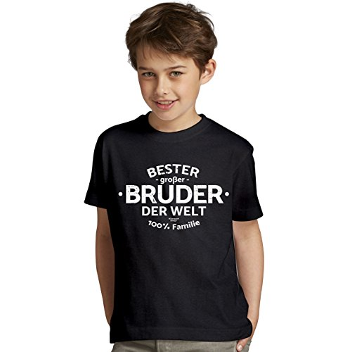 Bester großer Bruder der Welt : Geschenk-Set Kinder T-Shirt Plus Urkunde : Geschenkidee als Geburtstagsgeschenk Jungen Farbe: schwarz Gr: 134/146