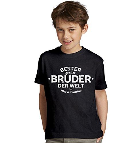 Bester großer Bruder der Welt : Geschenk-Set Kinder T-Shirt Plus Urkunde : Geschenkidee als Geburtstagsgeschenk Jungen Farbe: schwarz Gr: 122/128
