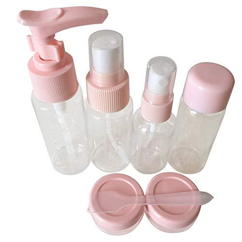Lot de 7 flacons de voyage pour transporter des produits cosmétiques en toute sécurité dans les aéroports, résistants à l'usure, étanches et de petite taille. rose
