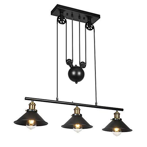 Lampada a sospensione a 3 pulegge a sospensione, lampadario a sospensione rustica industriale industriale orientabile a luce dell'isola