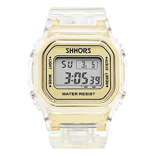 SHHORS Reloj Unisex Resistente Al Agua Pantalla Digital Cronometro Alarma Luz Estilo Deportivo Juvenil (Dorado)