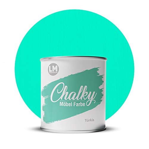 LM-Kreativ Chalky Möbelfarbe deckend 1 Liter / 1,35 kg (Türkis), matt finish In- & Outdoor Kreide-Farbe für Shabby-Chic, Vintage, Landhaus Stil
