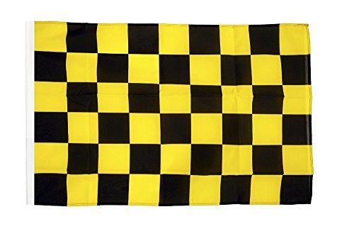 Flagge / Fahne Karo Schwarz-Gelb + gratis Sticker, Flaggenfritze®