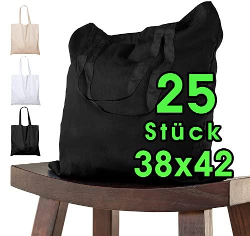 Bolsa de algodón para pintar 38x42 - 25 piezas negro para niños con asa CORTA - sin imprimir certificado OEKO-TEX® - bolsa de tela, bolsa de transporte, bolsa de compras de 140g / m de grosor