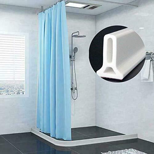 Badezimmer-Küchen-Wasser-Stopper-zusammenklappbare Duschschwellen-Wasser-Verdammung, Silikon-Badezimmer-Boden-Küchen-Dichtungs-Schirm-Türdichtungs-Streifen selbstklebend ( 63 Zoll)