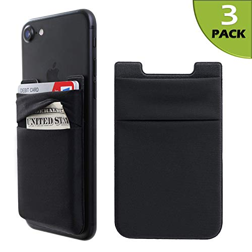 Phone Card Holder Stretchy Lycra Wallet Pocket Credit Card ID Case Pouch Sleeve 3M Adhesive Sticker Compatible with iPhone Samsung Galaxy Android Smartphones - 3Pack Black