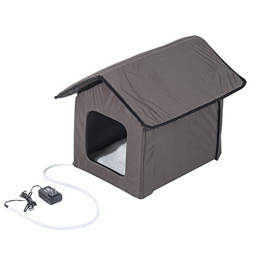 PawHut Small Indoor Portable Water Resistant Heated Cat House - Brown