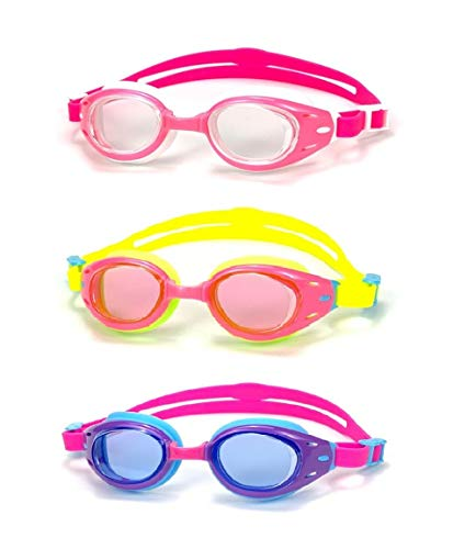 Yuenree Kids Swim Goggles 3 Pack - Swimming Goggles for Kids Children Boys Girls Ages 3-14 - No Leak, Anti-Fog, UV Protection - with 3 Hard Travel Cases