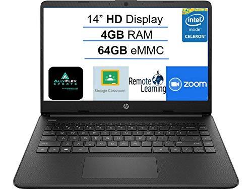 Newest HP 14' Laptop Computer, Intel Celeron N4020 up to 2.8GHz, 4GB DDR4 RAM, 64GB eMMC, WiFi, Bluetooth 5, HMDI, Type-C, Webcam, Jet Black, Windows 10 S,AllyFlex Mousepad, Online Class Ready
