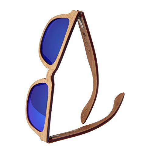 WOLA Damen Herren Sonnenbrille Holz AERO eckige Brille starke Brücke Vollholz polarisiert UV400 Unisex- Gr.  Damen L / Herren M, Birke Blau (verspiegelt)