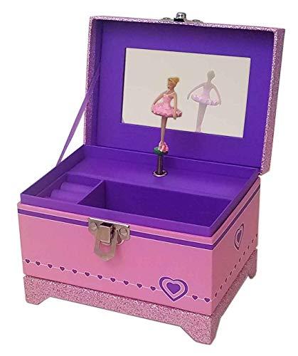 My Tiny Treasures Box Company Ballerina Music Box (Pink Sparkle Ballerina Box)