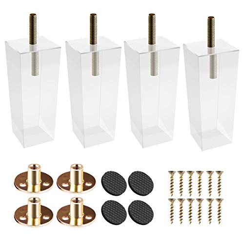 4 inch / 10cm Acrylic Furniture Legs, La Vane 4PCS Pyramid Clear Glass DIY M8 Replacement Furniture Feet with Pre-Drilled 5/16 Inch Bolt & Mounting Plate & Screws for Bookcase Table Cabinet