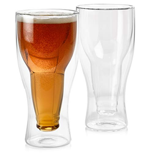 Set of 2 Double Wall Beer Glass, Unique Beer Glasses, Dad Beer Glass, Cool Beer Glasses, Insulated Beer Mug, Double Beer Mug, Fit up to 14 ounces