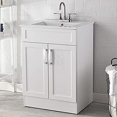 """Modern 24"""" Small White Bathroom Vanity with Sink,Storage Cabinet with White Ceramic Vessel Basin Top Vanity Sink Combo Bathroom Cabinet Set"""